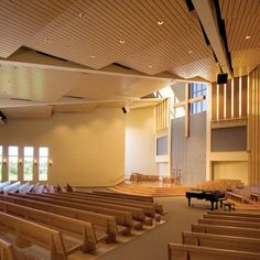Cuningham Group designed the master plan for Beautiful Savior's new worship facility, including a campus-style setting accomplished in two phases. Church Interior Design, Church Stage Design, Choir Room, Church Lobby, Open Architecture, Campus Style, Modern Church, Internal Design, Lobby Design