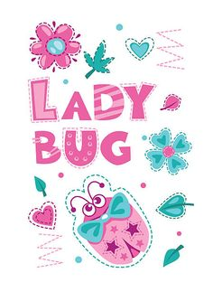 Cute girlish illustration with funny ladybug - ilustração de arte em vetor