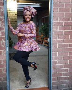African Print Peplum Top with Sleeves - Ankara - African Dress - Handmade - African Clothing - African Fashion - Ankara Dress -Plus HeadWrap African Print Peplum Top, African Print Dresses, African Dress, African Prints, African Blouses, African Tops, African Women, African Beauty, African Fashion Ankara