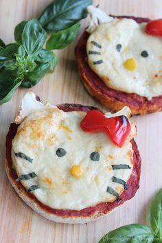 Hello Kitty mini pizzas w/ homemade cheese {vegan}