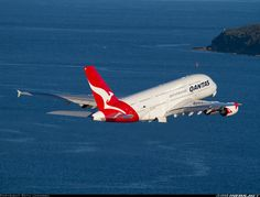 """Qantas Airbus VH-OQK """"John and Reginald Duigan"""" climbing out over Botany Bay while departing Sydney-Kingsford Smith, August (Photo: Seth Jaworski) Qantas A380, Airbus A380, Qantas Airlines, Airplane Drone, Beluga, Passenger Aircraft, Commercial Aircraft, Civil Aviation, Aircraft Pictures"""