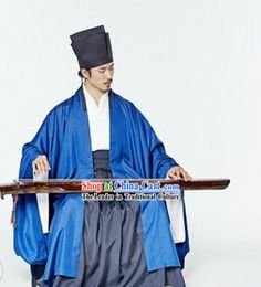 Ancient China Song Dynasty Male Blue Chinese Hanfu Clothing Complete Set for Men