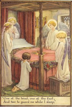 Young girl kneeling and saying her prayers is guarded over by angels!