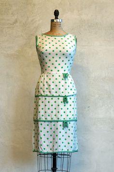1950s Vintage Dress // 50s Polka Dot  // The Wiggle by 86Vintage86, $114.00
