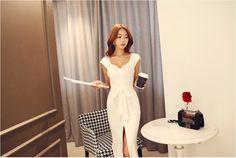 Golgi Button Long Dress - DRESSES - CLOTHING - WOMEN | Korean Fashion Online Shopping Mall - KOODING.com