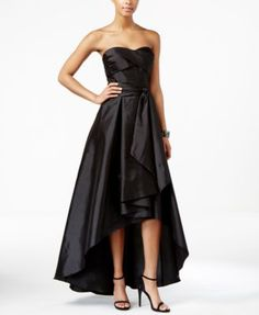 Adrianna Papell Belted High-Low Strapless Dress