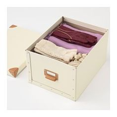 IKEA - FJÄLLA, Box with lid, off-white, , Suitable for papers, photos, and other keepsakes.Easy to pull out as the box has a handle.The label holder helps you organize and find your things.