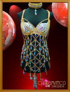 Charismatico Gogo wonder sexy Showgirl Teardrop crystal necklace & bra  #Charismatico