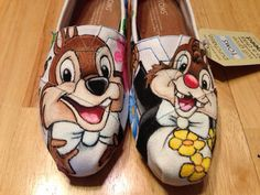 Chip and dale disney inspired toms shoes by Cherimorandesign