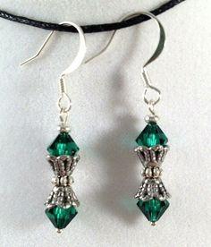 Emerald Green Swarovski Earrings from Drops of Sunshine Jewelry
