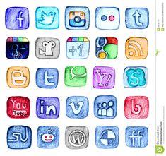 Hand Drawn Social Media Icon Set Editorial Stock Photo - Image ...