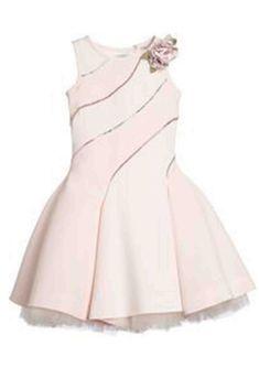 Pink Neoprene Dress with Diamanté , Monnalisa, Girl Kids Frocks, Frocks For Girls, Little Girl Dresses, Girls Dresses, Flower Girl Dresses, Stunning Dresses, Cute Dresses, Little Girl Fashion, Kids Fashion