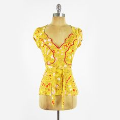 $78 MOTH anthropologie MUSTARD YELLOW & RED FLORAL SCALLOPED shirt blouse top M $39.99