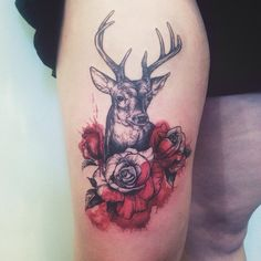 Well-done linework tattoos are always beautiful, add a splash of red colour and it gets better.