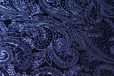 Blue Paisley Design Velvet Fabric Fat Quarter