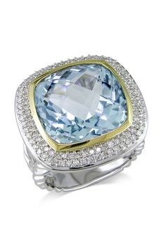 Pave Diamond & Sky Blue Topaz Cushion-Shaped Ring by Color of the Month on @HauteLook