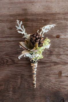 Boutonniere with pinecones