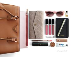 Designer Clothes, Shoes & Bags for Women What In My Bag, What's In Your Bag, Inside My Bag, What's In My Purse, Purse Essentials, Prada Wallet, Fragrance Samples, Makeup Pouch, Busy Bags