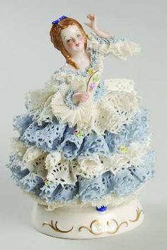 Irish Dresden Figurine - Girl w/Hand Mirror
