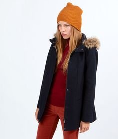Manteau en laine, capuche fausse fourrure - CALIN - MARINE - Etam