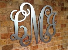 Metal Vine Monogram | Galvanized Steel Vine Monogram | Wreath Monogram