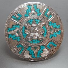 Vintage Crown Mark Mexico Taxco Eagle Mark 38 Turquoise Chip Inlay Aztec Mayan Round Sterling Silver Pin Pendant