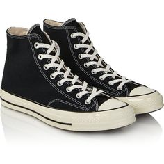 Converse Chuck Taylor All Star '70 Hi Top Sneakers (300 BRL) ❤ liked on Polyvore featuring shoes, sneakers, black, black hi top sneakers, converse sneakers, black lace up sneakers, shiny black shoes and lace up sneakers