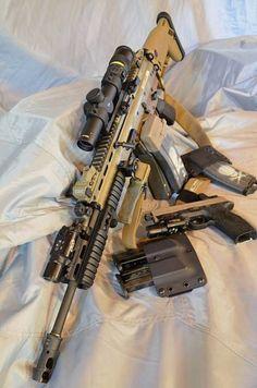 Apollo Sexy...  FN SCAR: trijicon acupoint scope, surefire x300, troy battle sights