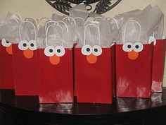 Elmo party goodie bag idea.