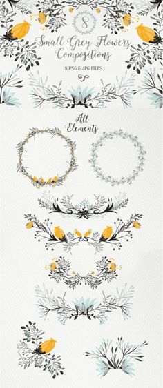 Ideas For Wedding Card Illustration Design Floral Wreaths Watercolor Flowers, Watercolor Art, Drawing Flowers, Drawn Art, Hand Drawn, Karten Diy, Grey Flowers, Small Flowers, Painting & Drawing