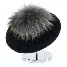 Cable Beret with Fur Puff - Black Cashmere Beanie, Beret, Cable, Winter Hats, Fur, Collection, Black, Fashion, Cabo