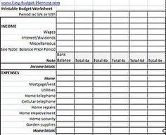 Free online personal budget worksheet