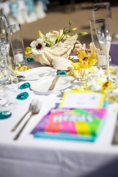 Seashells make the perfect centerpiece for a beach wedding!