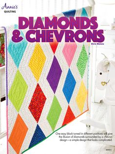 Create rows of bright and happy diamonds by simply turning 1 block around in different directions -- you'll see something new every time! To make it even simpler, you can use 20 colorful fat eighths to create the finished look. Finished size is 40&qu...