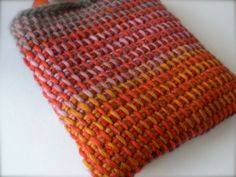 Tunisian crochet bag inspiration - love the look of the color gradation with Tunisian Crochet. No pattern/item at link.