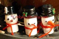 snowman wine cork ornaments by jenniferET