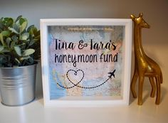 Personalized Honeymoon Fund Savings Bank | Bridal Shower Gift | Engagement Gift | Wedding Bride Groom Couples Money Cash Vacation Honey Moon by DextersGifts on Etsy https://www.etsy.com/listing/521750644/personalized-honeymoon-fund-savings-bank