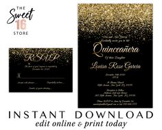 Quinceanera Invitations and RSVP Card, Black and Gold Glitter Quinceanera Response Card and Invitati Text Message Invitations, Save The Date Invitations, Invitation Set, Quinceanera Invitations, Birthday Party Invitations, Black And Gold Invitations, Glitter Party Decorations, Candy Bar Wrapper Template, Sweet Sixteen Invitations