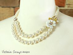 Eco Friendly Ivory Pearl and Vintage Coro by VictoriaCampAllison
