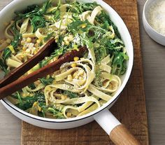 Creamy Fettuccine With Corn and Arugula | Short on time? These meals take just 20 minutes from start to finish.
