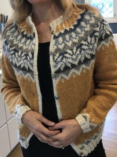 Afmæli knitted in Lettlopi. The pattern is originally a sweater, changed it to jacket. Icelandic Sweaters, Fair Isle Knitting Patterns, Lego Birthday Party, Knit Crochet, Men Sweater, Cross Stitch, My Style, How To Wear, Jackets