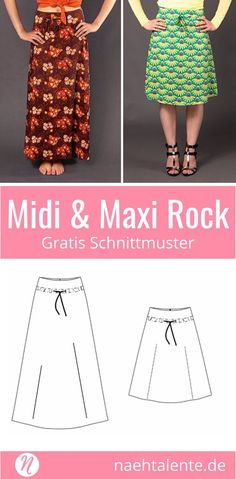 Free sewing pattern for A-line skirts for women ❤ Midi & Maxi length Schnitt PDF sewing pattern in size. 36 - 48 for printing ✂ Nähtalente.de - magazine for free sewing patterns and hobby dressmak Sewing Dress, Skirt Patterns Sewing, Sewing Patterns For Kids, Clothing Patterns, Pattern Sewing, Knitting Patterns, Diy Clothes Kimono, Dress Clothes For Women, Sewing Clothes