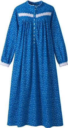 Forget-Me-Not flannel nightgown by Eileen West features high collar for extra warmth. Other details include white lace trim and flower-shaped shell buttons. Kurti Designs Party Wear, Kurta Designs, Dress Muslim Modern, Nightgown Pattern, Bodice Pattern, Night Gown Dress, Flannel Nightgown, Dress Indian Style, Night Dress For Women