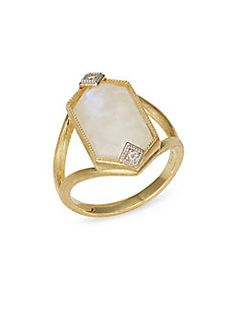 Jude Frances Lisse Moonstone & Diamond Band Ring in 18k Yellow Gold Nlmv2A