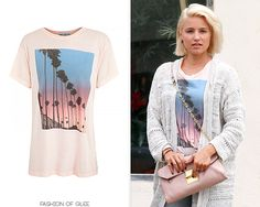 Dianna Agron visits a nail salon, Studio City, September 8, 2014    Wildfox Canyon Palms Oversized Tee   Worn with: Alison Lou necklace, Miu Miu bag, Madewell jeans, Birkenstock sandals