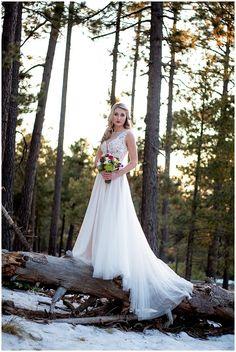 Bride in @watterswtoo Marnie gown. Bynum Photography: Winter Wonderland Beautifully Styled Wedding
