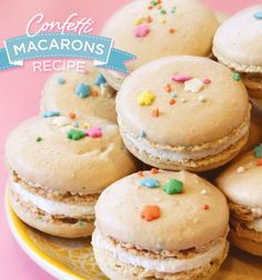 """Hostess with the Mostess®Cue the confetti! Today we have a party perfect sweet treat that will seriously make you SMILE!Tessa Lindow Huff(the amazing cake designer)shares her Confetti Macaron Recipe! If you want to impress your guests, skip the standard vanilla, go """"funfetti"""", and try out this pl"""