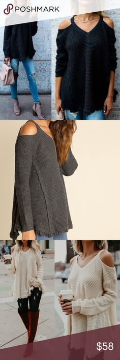 Charcoal Waffle Knit Cold Shoulder Sweater Charcoal Waffle Knit Cold Shoulder Sweater  Also available in cream Preorder Ships Early Next week Cotton Poly Blend No Trades Glamvault Sweaters