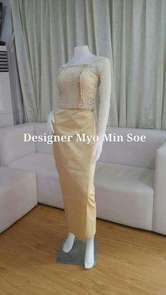 Myanmar Traditional Dress, Traditional Dresses, Myanmar Dress Design, Batik Fashion, Burmese, Designer Dresses, Tatting, Dressing, Costumes