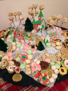 Cookie table display for a Christmas cookie exchange for the kids.
